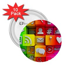 Colorful 3d Social Media 2 25  Buttons (10 Pack)