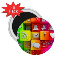 Colorful 3d Social Media 2 25  Magnets (10 Pack)