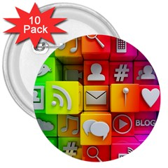 Colorful 3d Social Media 3  Buttons (10 Pack)
