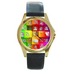 Colorful 3d Social Media Round Gold Metal Watch