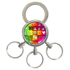Colorful 3d Social Media 3 Ring Key Chains