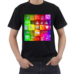 Colorful 3d Social Media Men s T Shirt (black) (two Sided)