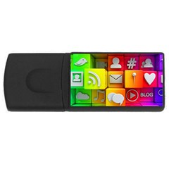 Colorful 3d Social Media Rectangular Usb Flash Drive