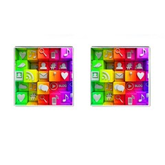 Colorful 3d Social Media Cufflinks (square)