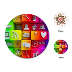 Colorful 3d Social Media Playing Cards (round)