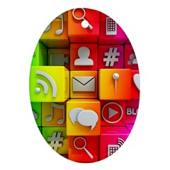 Colorful 3d Social Media Oval Ornament (two Sides)