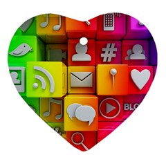 Colorful 3d Social Media Heart Ornament (two Sides)