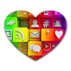 Colorful 3d Social Media Heart Mousepads