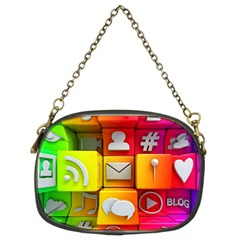 Colorful 3d Social Media Chain Purses (two Sides)