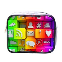 Colorful 3d Social Media Mini Toiletries Bags
