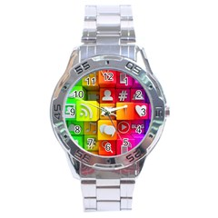Colorful 3d Social Media Stainless Steel Analogue Watch