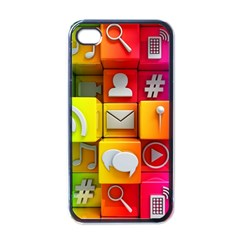 Colorful 3d Social Media Apple Iphone 4 Case (black)