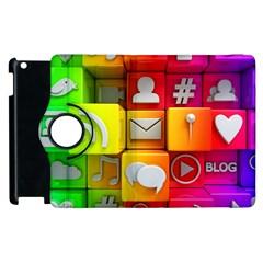 Colorful 3d Social Media Apple Ipad 3/4 Flip 360 Case