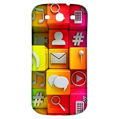 Colorful 3d Social Media Samsung Galaxy S3 S Iii Classic Hardshell Back Case