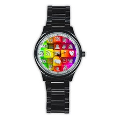 Colorful 3d Social Media Stainless Steel Round Watch
