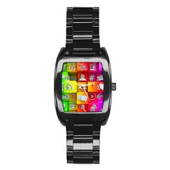 Colorful 3d Social Media Stainless Steel Barrel Watch