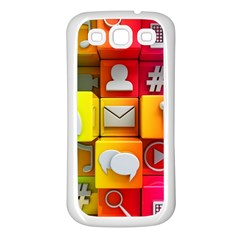 Colorful 3d Social Media Samsung Galaxy S3 Back Case (white)