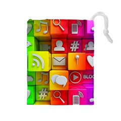 Colorful 3d Social Media Drawstring Pouches (large)