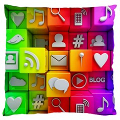 Colorful 3d Social Media Large Flano Cushion Case (one Side)