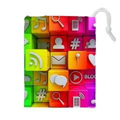 Colorful 3d Social Media Drawstring Pouches (extra Large)