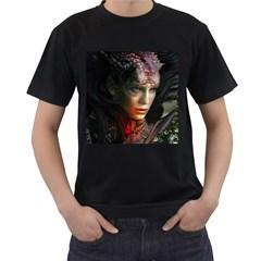 Digital Fantasy Girl Art Men s T Shirt (black) (two Sided)