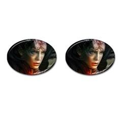 Digital Fantasy Girl Art Cufflinks (oval)
