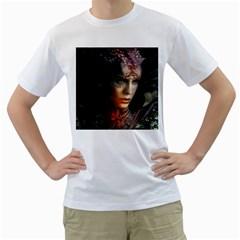 Digital Fantasy Girl Art Men s T Shirt (white)