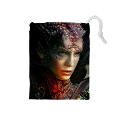 Digital Fantasy Girl Art Drawstring Pouches (medium)