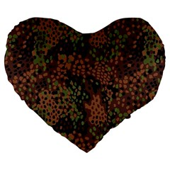 Digital Camouflage Large 19  Premium Flano Heart Shape Cushions
