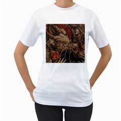 Chinese Dragon Women s T Shirt (white) (two Sided)