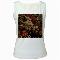 Chinese Dragon Women s White Tank Top