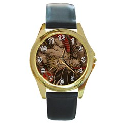 Chinese Dragon Round Gold Metal Watch