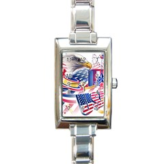 United States Of America Usa  Images Independence Day Rectangle Italian Charm Watch