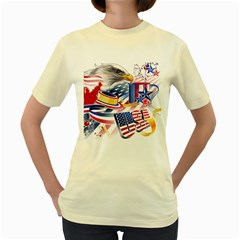 United States Of America Usa  Images Independence Day Women s Yellow T Shirt