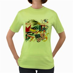 United States Of America Usa  Images Independence Day Women s Green T Shirt