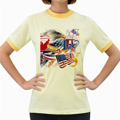 United States Of America Usa  Images Independence Day Women s Fitted Ringer T Shirts