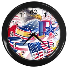 United States Of America Usa  Images Independence Day Wall Clocks (black)