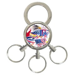 United States Of America Usa  Images Independence Day 3 Ring Key Chains