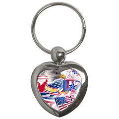 United States Of America Usa  Images Independence Day Key Chains (heart)