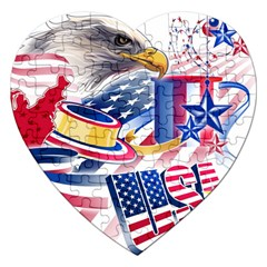 United States Of America Usa  Images Independence Day Jigsaw Puzzle (heart)