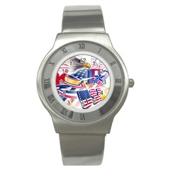 United States Of America Usa  Images Independence Day Stainless Steel Watch