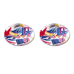 United States Of America Usa  Images Independence Day Cufflinks (oval)