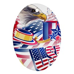 United States Of America Usa  Images Independence Day Oval Ornament (two Sides)