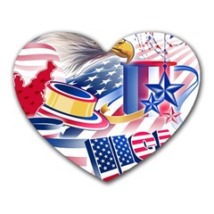 United States Of America Usa  Images Independence Day Heart Mousepads