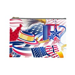United States Of America Usa  Images Independence Day Cosmetic Bag (large)