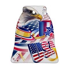 United States Of America Usa  Images Independence Day Bell Ornament (two Sides)