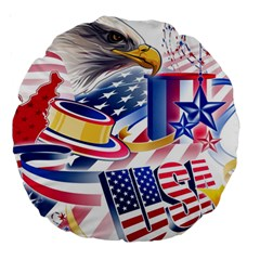 United States Of America Usa  Images Independence Day Large 18  Premium Round Cushions
