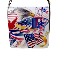 United States Of America Usa  Images Independence Day Flap Messenger Bag (l)