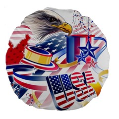 United States Of America Usa  Images Independence Day Large 18  Premium Flano Round Cushions