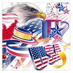 United States Of America Usa  Images Independence Day Large Satin Scarf (square)